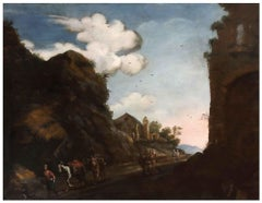 Landscape with Church and Ruins - Oil on Canvas by Flemish Master - 17th Century