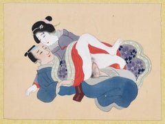 Japanese Sexual Encounter - Origina Gouache on Silk