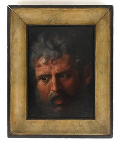 Study for a Head of Man - Oil on Table by Anonymous 18th Century Painter
