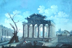 View of the Hexastyle Periptero Temple from the part of Ponente - Tempera