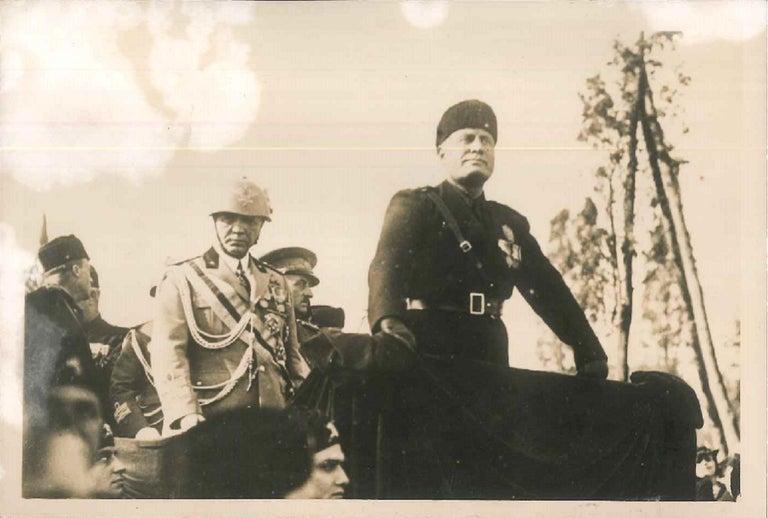 Anonymous Black and White Photograph - Mussolini and Badoglio - Original Vintage Photo - 1934