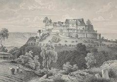 Die Festung Coburg - Original Etching 19° Century