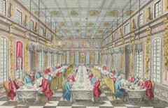 Salle Des Festins De Versailles - Original Etching Late 18° Century