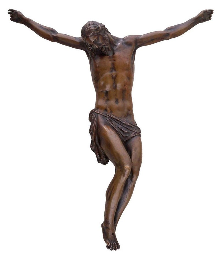 Crucified Christ is an original artwork realized by one of the pupils of Jean de Boulogne between the end of the XVI and the beginning of the XVII Century.   Bronze.   Good conditions.   This sculpture is going to be published in an essay by David