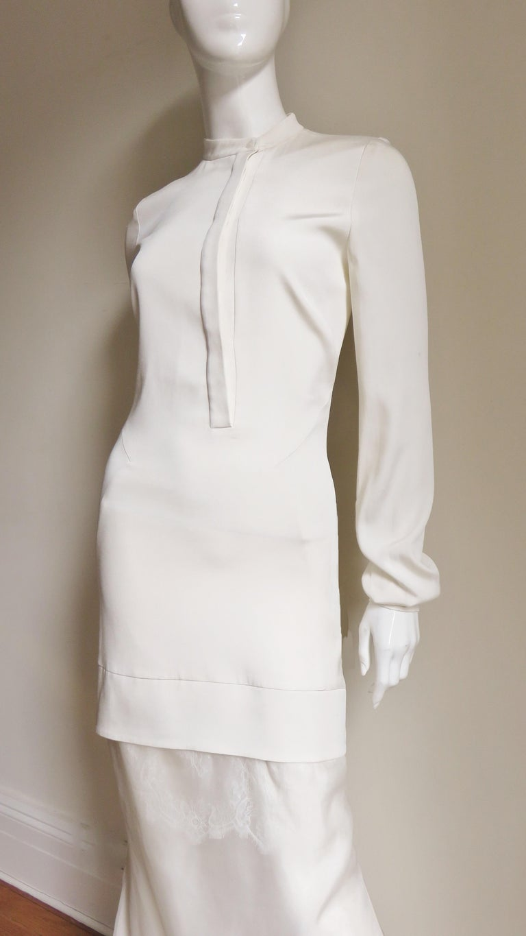 Anotnio Berardi New Off White Silk Maxi Gown  In Good Condition For Sale In New York, NY