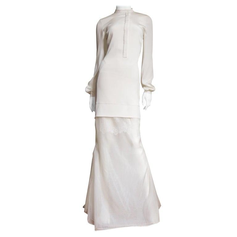 Anotnio Berardi New Off White Silk Maxi Gown  For Sale