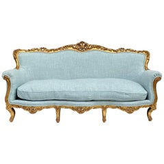 Anrique French Sofa / Canape with Water Gilt Carved Frame