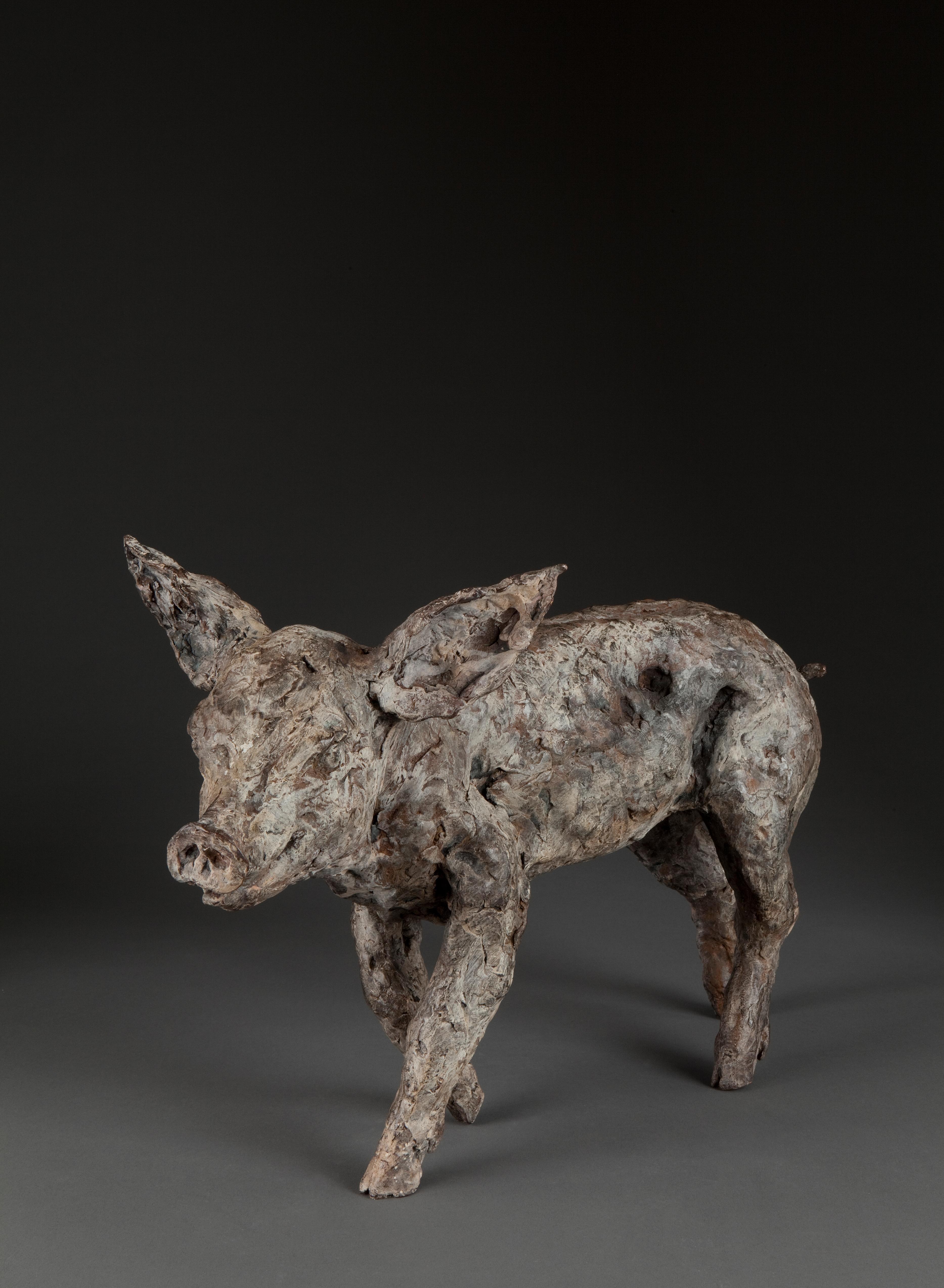 ''Big Pig'', Contemporary Bronze Sculpture Portrait of a Pig