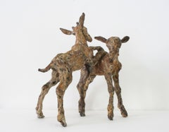 ''Goats Playing'', Contemporary Bronze Sculpture Portrait of Goats