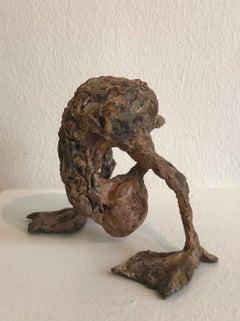 ''Peek-a-boo'', Contemporary Bronze Sculpture Portrait of a Baby Duck
