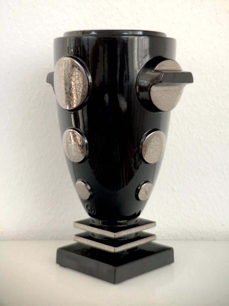 Emaux de Longwy ceramic vase decorated with real platinum (craquelling). 