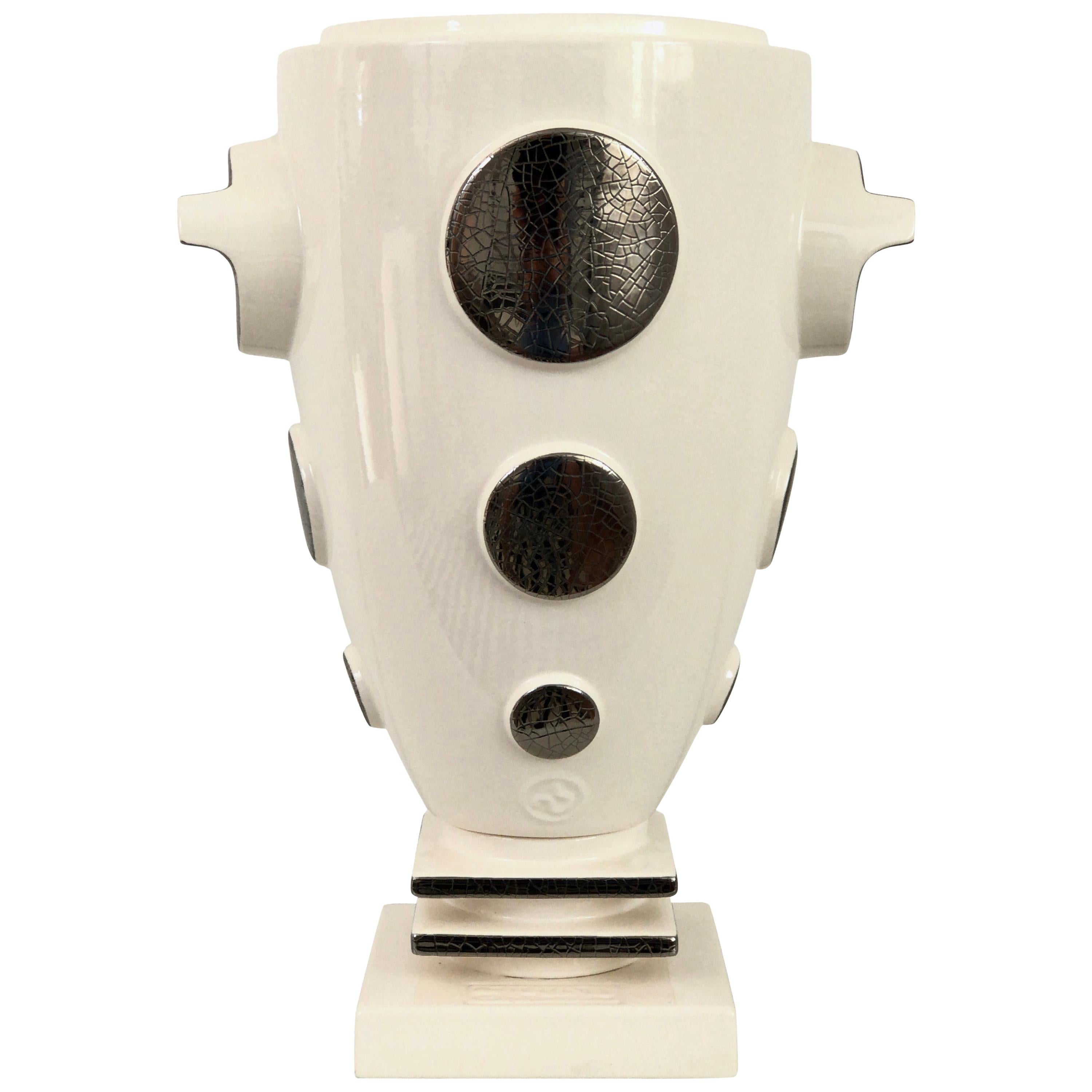 Anse White Glazed Ceramic Cup Vase from Emaux de Longwy