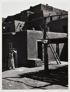 Ansel Adams. Winnowing Grain, Taos, Pueblo, NM, 1929, Silver gelatin print.