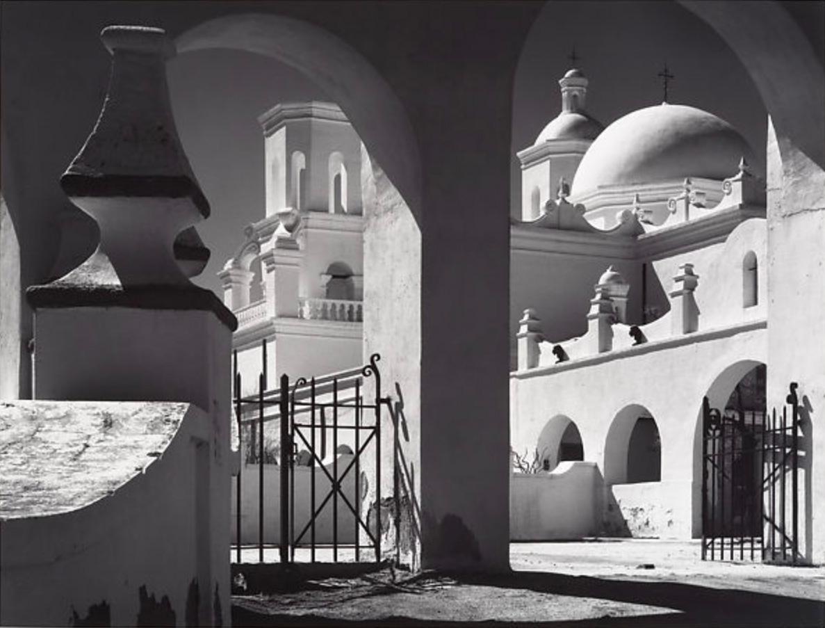 """Mission San Xavier del Bac, Tucson, Arizona"" Ansel Adams photograph"