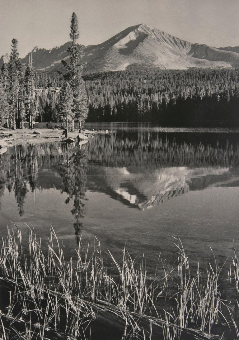 """Mount Kaweah, Moraine Lake, a Photograph by Ansel Adams.  This gorgeous photograph is from Ansel Adams epic work """"SIERRA NEVADA, The John Muir Trail"""" a book published in 1938 in a limited edition of just 500 of which this is #190. The print was made"""