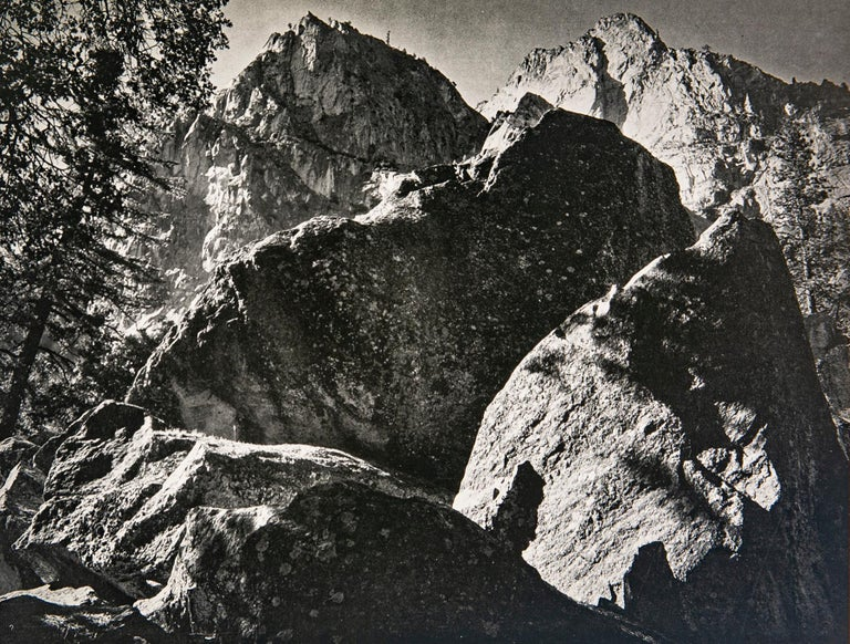 """Peaks and Talus, Kings River Canyon, a Photograph by Ansel Adams.  This gorgeous photograph is from Ansel Adams epic work """"SIERRA NEVADA, The John Muir Trail"""", a book published in 1938 in a limited edition of just 500 of which this is #190. The"""