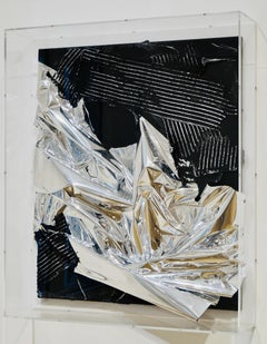 Untitled, 2007, foil painting, mixed media, abstract art object, silver, black,