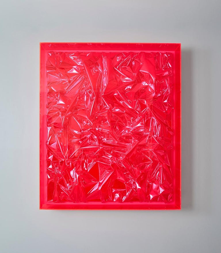Foil and acrylic on canvas in acrylic glass box by Anselm Reyle, 2007. 