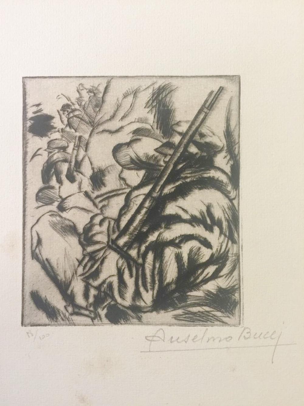 Avant l'Attaque - Original Etching by Anselmo Bucci - 1917