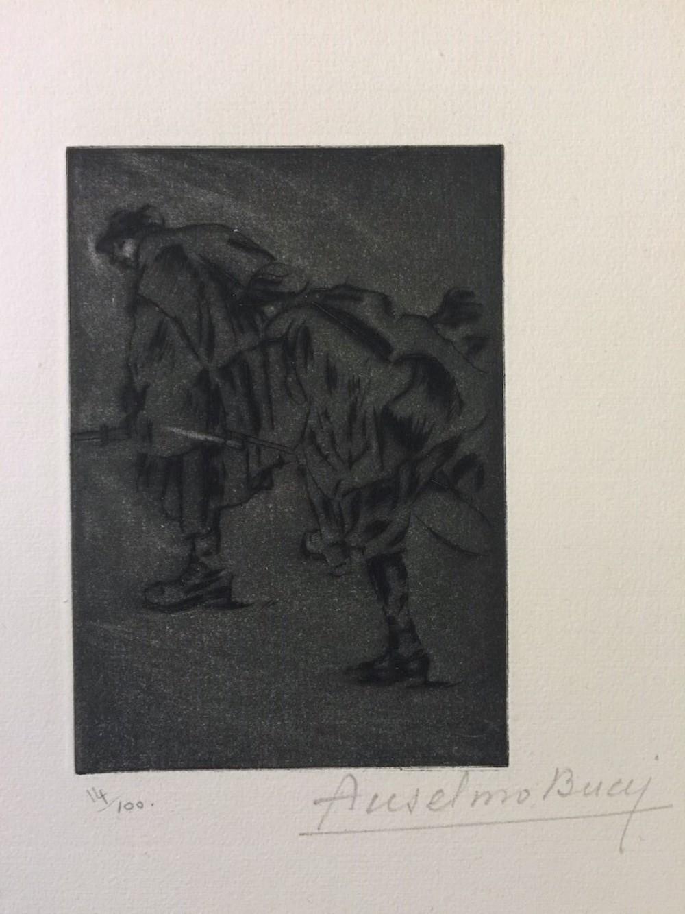 Dans la Nuit - Original Etching by Anselmo Bucci - 1917