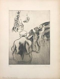Dans La Poudrière - Original Etching by Anselmo Bucci - 1917