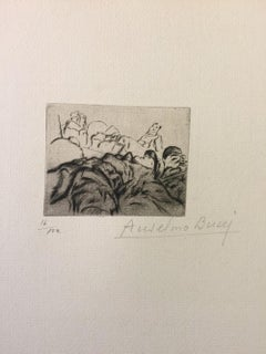 Extenués - Original Etching by Anselmo Bucci - 1917
