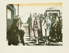 Group of Men - Original Lithograph by Anselmo Bucci - 1918