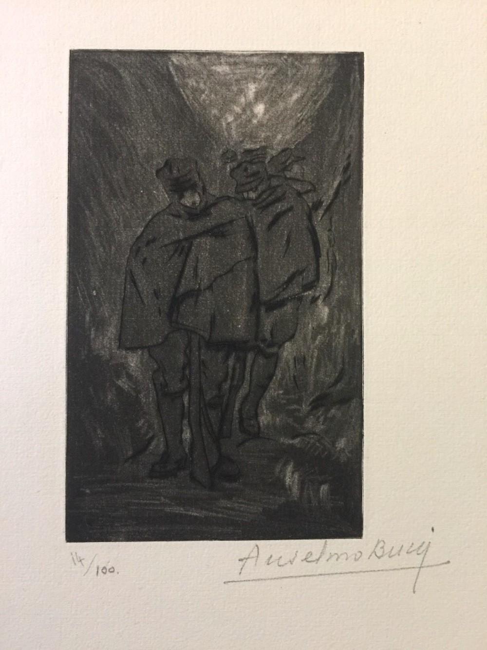 Halte - Original Etching by Anselmo Bucci - 1917
