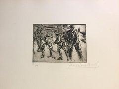 La Chaîne - Original Etching by Anselmo Bucci - 1917