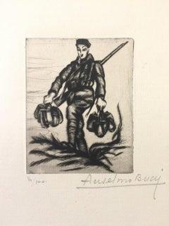 La Couvèe de L'eau - Original Etching by Anselmo Bucci - 1917