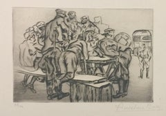 La Paye - Original Etching by Anselmo Bucci - 1917