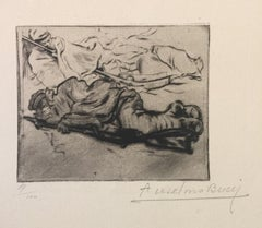 Le Froid - Original Etching by Anselmo Bucci - 1917