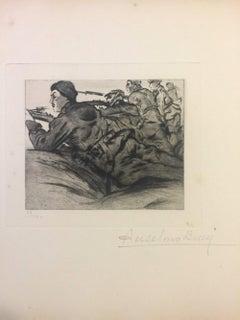 L'ennemi est en Vue - Original Etching by Anselmo Bucci - 1915