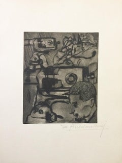 Les Mitrailleuses - Original Etching by Anselmo Bucci - 1917