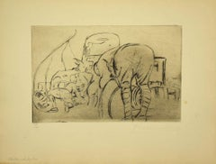Military Life - Original Etching by Anselmo Bucci - 1917