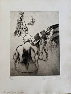Military Life - Original Etching by Anselmo Bucci - 1917s