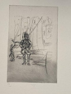Military - Original Etching by Anselmo Bucci - 1917