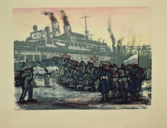 Military - Original Lithograph on Paper by Anselmo Bucci - 1918