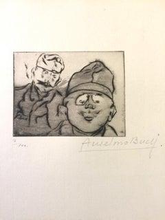 Otto et Fritz - Original Etching by Anselmo Bucci - 1917