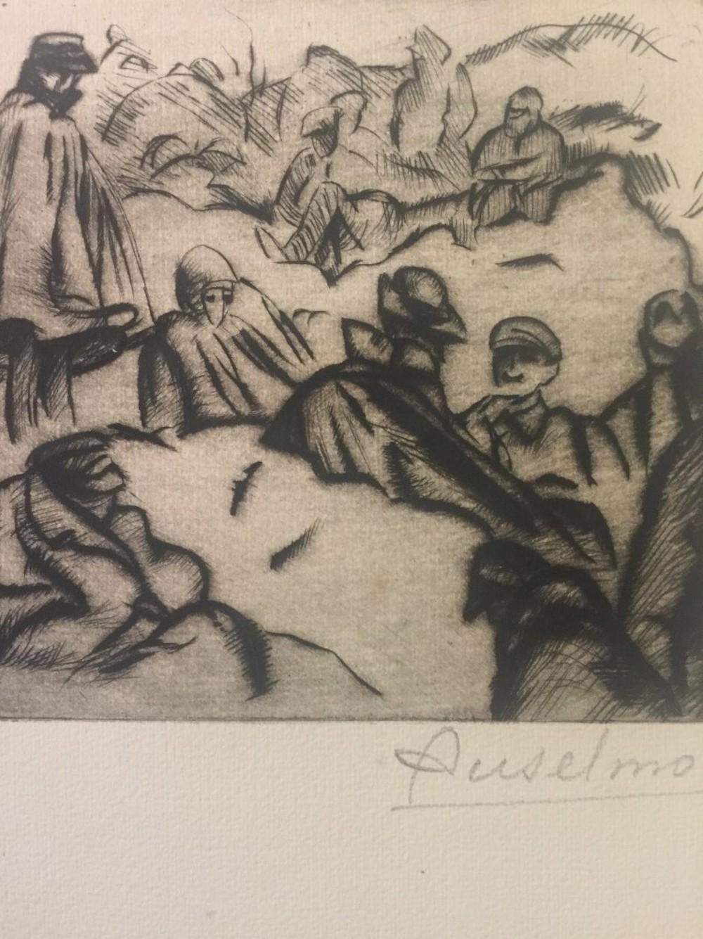 Réveil En Montagne - Original Etching by Anselmo Bucci - 1915