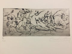Spleen  - Original Etching by Anselmo Bucci - 1917