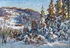 19th Century Landscape Painting of woodland & alpine trees 'Snowy Scene'