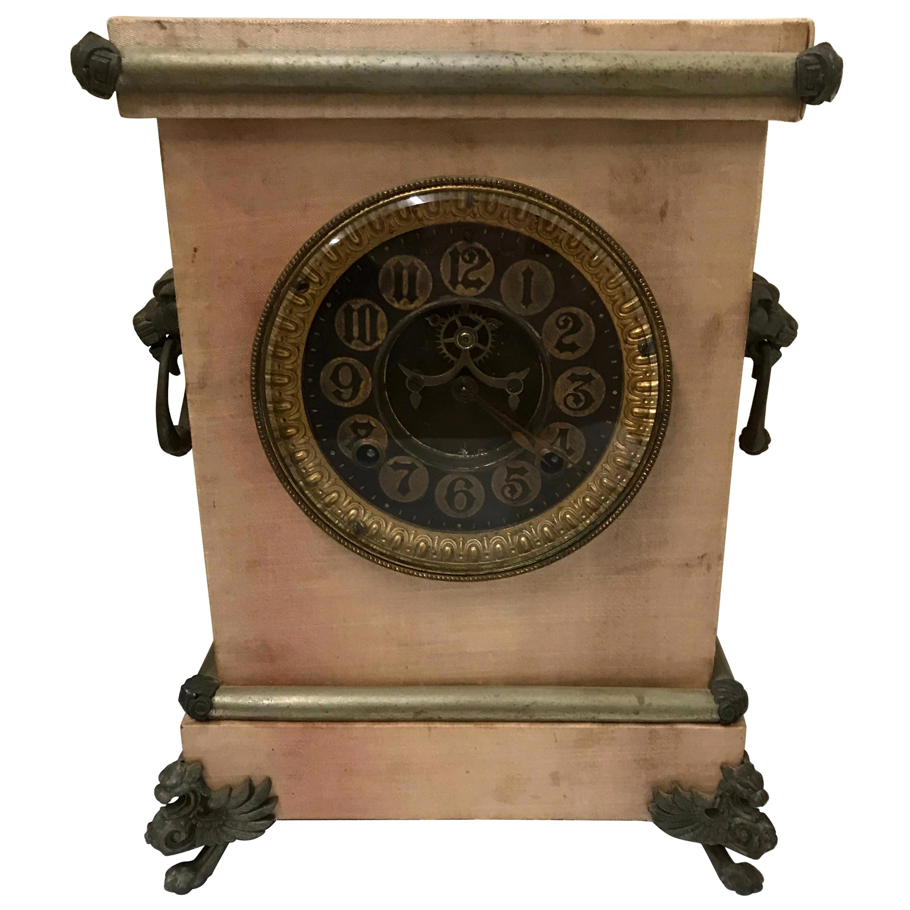 Ansonia Mantel Clock with Satin Finish, Late 19th Century