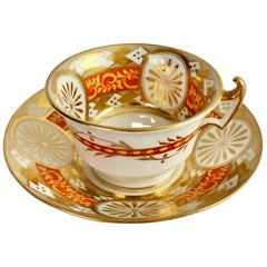 Anstice, Horton & Rose Teacup, Geometric Gilt, Yellow and Red, Regency