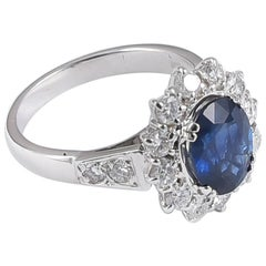 Ansuini Classic Sapphire and Diamond 18 Karat White Gold Engagement Ring