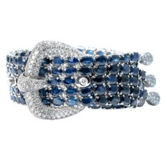 Ansuini White Gold Sapphires and Diamonds Buckle Bracelet