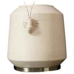 Ant Jar by Estudio Guerrero, Glazed Ceramic and White Metal