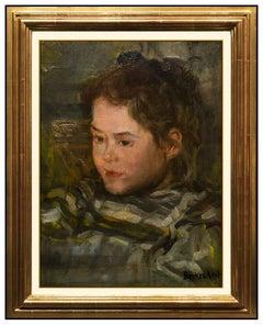 Antal Berkes Rare Oil Painting On Board Original Female Portrait Signed Artwork