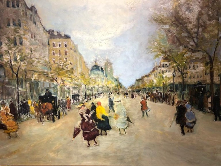 Paris Street Scene - Other Art Style Painting by Antal Berkes