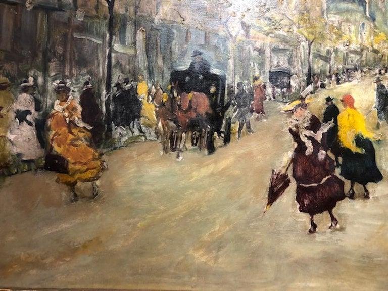 Paris Street Scene - Brown Landscape Painting by Antal Berkes